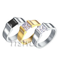 Mens TT Stainless Steel Pricess Cut CZ Engagement Wedding Band Ring (R102)