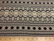 "Rayon Challis Black/Beige Tribal Ethnic Print Fabric 55"" W By The Yard"