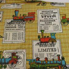 Steam Engine Train Twin Size Bed Sheet Flat Fabric Locomotive 1800's Railroad