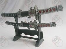 Japanese Samurai 2 set Mini Sword Dagger w/Desk Stand