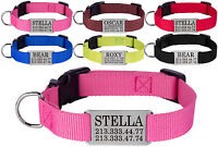 Nylon Dog Collar Optional Personalized Slide On ID Tag Pet Name Pink Red S M L