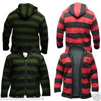 Men's Green Red Stripe Fleece Lined Jacket Festival Hippie Hoodie Gothic Sweater