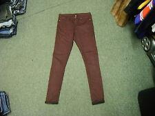"Moto Topshop Skinny Jeans Waist 32"" Leg 31"" Faded Maroon Ladies Jeans"