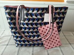 Kate Spade New York Arch Love Geo Birds Large Reversible Tote with Pouch NWT