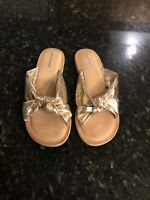 JEFFREY CAMPBELL Zocalo Knot Slides Sandals  Metallic Gold Leather, 8, New!