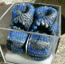 Hand-Knitted Baby Booties (3-9m) Merino Wool/Silk, Blue/Grey Mix