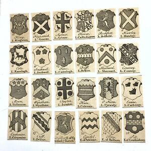 24 Original 1600's Small Engravings (Plate Prints) Of Family Crests Or Shields A