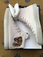 Gucci Mens Trainer Sneaker High Top White Leather Shoes UK 10 US 11 44 Tiger Web