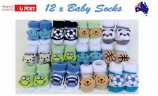 12 x BABY BOYS SOCKS COTTON BOOTIES SHOES SLIPPERS NEWBORN TODDLER 0-6MONTHS