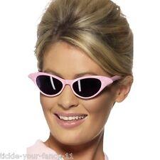 Women's Ladies 50's Flyaway Pink Sunglasses Rock n Roll Retro Fancy Dress Grease