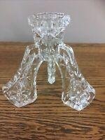 Vintage Cut Glass Candlestick Holder. Three Legs. 11.5 Cm