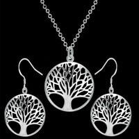 925 STAMPED STERLING SILVER TREE OF LIFE PENDENT NECKLACE EARRING SET GIFT BAG
