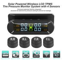 Wireless Solar + USB TPMS LCD Reifendruckkontrollsystem mit 4 Externe Sensoren