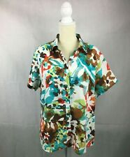 Tommy Bahama Bright Tropical Floral Print Blouse Women's Shirt Size XL