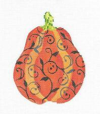 Halloween Gourd w/ Haunted Vine handpainted Needlepoint Canvas by Kelly Clark