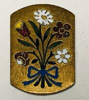 Antique Button Embossed Engraved Champleve Inlaid Enamel Blue Ribbon & Daisies