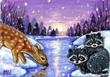 Original Raccoons Winter Blanket Fawn Doe Lake Sunset Forest Snow  ACEO Print