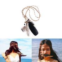 Boho Hippie Indian Feather Headband Headdress Tribal Hair Rope Headpieces Party