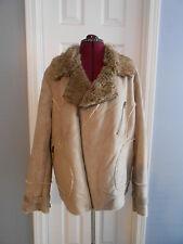7915654a72d Womens TORRID Coat Jacket Size 1 Plus Size Microfiber Faux Fur Lined Beige  Solid