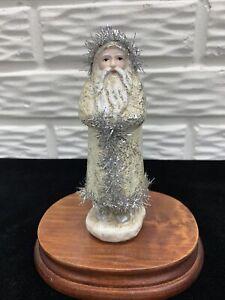"Primitive Style 6"" Belsnickle Santa in Ivory Silver Foil Coat with Tinsel Trim"