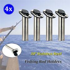 4x Marine Grade Stainless Steel Flush Mount 30 Degree Fishing Rod Holders New