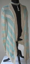 Say What? Women's Sweater Wrap Swing Crochet Light Stripe Beige Green size Large