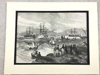 1875 Antico Stampa Hms Serapis Royal Blu Navy Nave Cruiser IN Porta Pireas Greca
