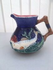 Beautiful Majolica Shorter Pottery Fish Jug c1930