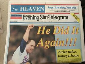Nolan Ryan 7th No Hitter Newspapers Fort Worth Star Telegram (42 newspapers)