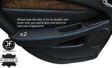 BLUE STITCH 2X REAR DOOR HANDLE ARMREST COVERS FITS JAGUAR X-TYPE 2001-2009