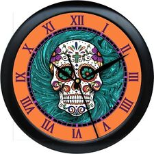 Sugar Skull Wall Clock Day of the Dead Orange & Turquois Tatoo Parlor Gift