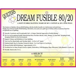 "Quilters Dream Craft Fusible 80/20 Blend Select Quilt Batting 46"" x 36"""