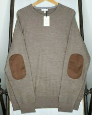 Nwt Peter Millar $245 Large Brown Suede Patch Raglan Merino Wool Mens Sweater