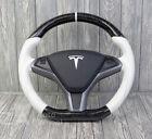 TESLA Model S Model X Custom SPORT STEERING WHEEL Customized P100d P90 WHITE