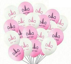 "100 x Unicorn balloons. latex 10"" birthday party. pink/white (UK seller)"