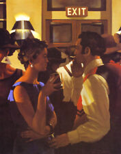 "JACK VETTRIANO BOOK  PRINT ""HEAVEN OR HELL"" WOMAN IN BLUE MAN IN RED VEST IN BAR"
