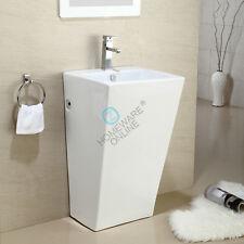 510x460x850mm Pedestal Basin Freestanding Full Ceramic Square White Gloss Modern