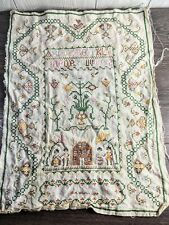 Vintage Completed Cross Stitch ornate country Alphabet Sampler Large! 23�X17�