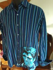 DRAGONFLY Scarface Shirt Blue Striped French Cuff  Long Sleeve Men's Size M