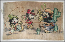 More details for vintage disney 1930s mickey mouse, minnie and pegleg pete rug