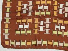 "1960's Vintage Silk Scarf Graphic Spools Design Hand-rolled Hem Brown Peach 26"""