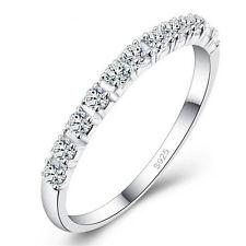 Unique Single Row Zircon Rings 925 Silver Women Marriage Bridal Jewelry Sz 8