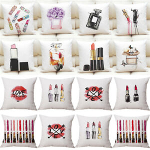 Fashion lipstick perfume Pillow Cover Cotton Square Pillow Case Cushion cover