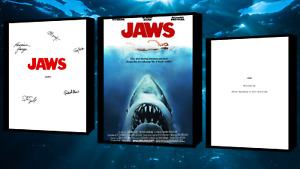 Jaws Script Screenplay With/Movie Poster and Autographs Signed Print