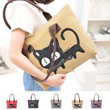 Cartoon Cat Women Cute Casual Lady Canvas Handbag Tote Shoulder Messenger Bag