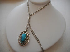 Vintage Southwest Sterling Silver Turquoise Pendant on Chain Necklace  RE3532