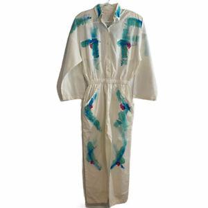 Vintage Frillz Jumpsuit White Splatter Paint Design Size Small 100% Cotton