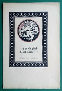 "1920s ADVERTISING SHEET ""CLOISTER PRESS"" HORACE TAYLOR ARTIST, ""BLACK LETTER"""