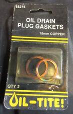 Set of 2 Oil-Tite 65275 18mm 11/16 Copper Drain Plug Gasket 095-155 Dodge Subaru