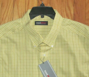 Roundtree Mens SS Yellow Plaid Travel Shirt 2X B, 2XLT, 3X B, 3XLT NWT